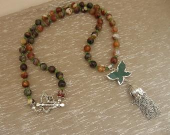 Green Agate Butterfly Pendant Tassel Necklace