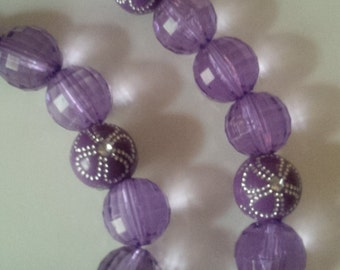 Purple Beaded Necklace and Bracelet Set  (#246)