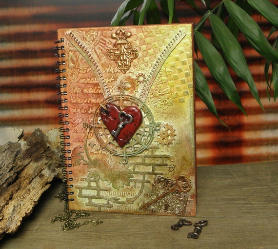 Steampunk journal, notebook, mixed media, vintage, scrapbook ~ The Unlocking