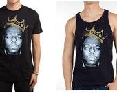 Notorious Big King Of NY Brooklyn Biggie Tank Top Short Sleeve Black Shirts