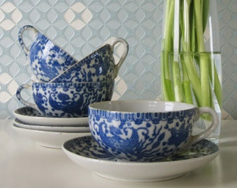 Vintage Cups and Saucers Phoenix Bird  Flying Turkey Blue and White from Japan