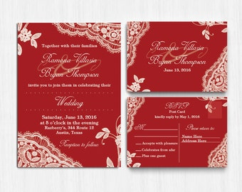 Lace Wedding Invitation, Printed Red Lace wedding invite,Red Wedding Invitation, Red, Invite, response card, red lace wedding invitation set