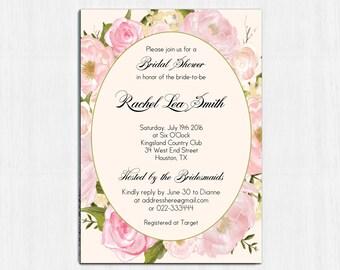 Flower Bridal Shower Invitation, Peonies, pink, Printable shower invite, Printable Digital file, Bridal Shower Invitation, pink peonies