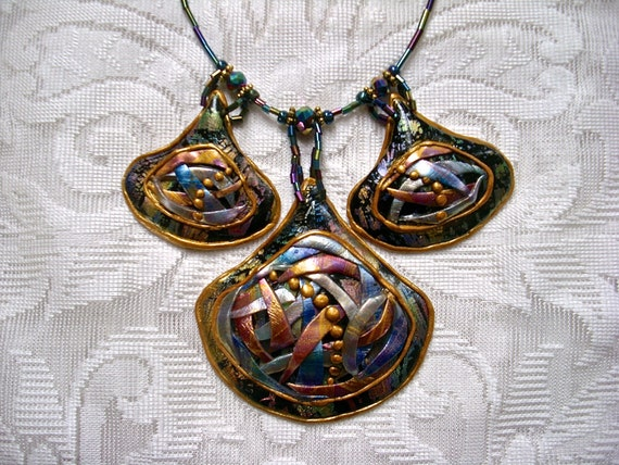 Unique Hand Made Polymer Clay Abstract Medallion Statement Necklace