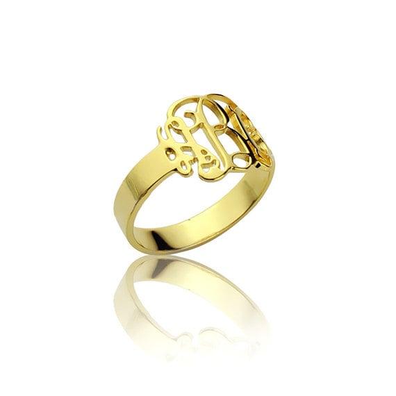 items similar to gold monogram ring personalized ring name