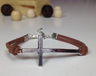 Silver sideways cross bracelet Antique silver cross charm bracelet Cross jewelry Spiritual bracelet Horizontal cross bracelet Faith bracelet