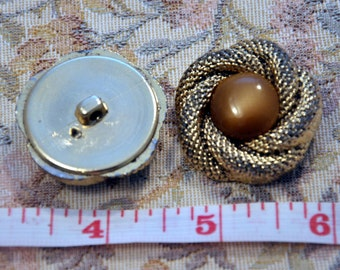 Gold buttons with game spiral in the center pearl light brown diameter 1.4""