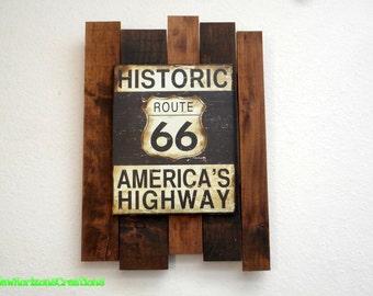 Custom Route 66 Knotty Alder Pallet Plaque