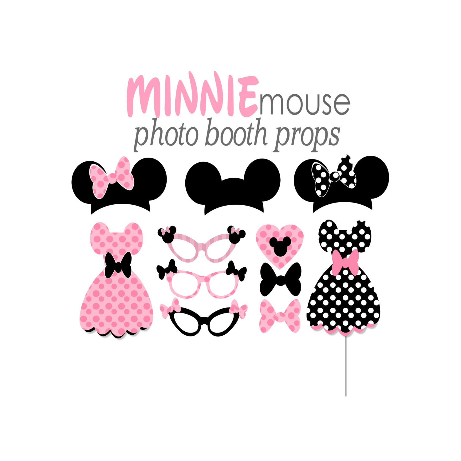 Mickey Mouse Photo Props Printables Minnie Mouse Photo Booth Props