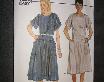 1980s Fast &Easy Butterick Pattern 6528, size 8-10-12