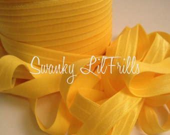 """5/8"""" Fold Over Elastic Yellow, Yellow Elastic, Headband, Lingerie, Baby, Straps, Low Shipping, Foldover"""