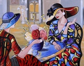The Chat. Acrylic painting. Gallery wrapped stretched canvas. Two elegant women in bold colored dresses lively chat in a Paris cafe.