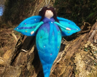 Turquoise Felt Fairy - Needle Felted Fairy - Teal Fairy - Guardian Angel - Purple Angel - Blue Waldorf Fairy - Handmade Wool Doll - Fairy