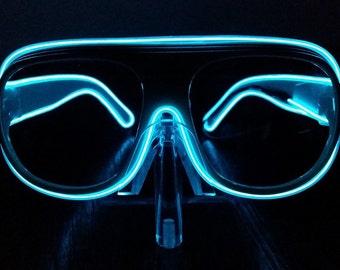 Sound Activated Aviator EL Wire Glow Shades - Black Frame, Sound Activated El Wire Sunglasses