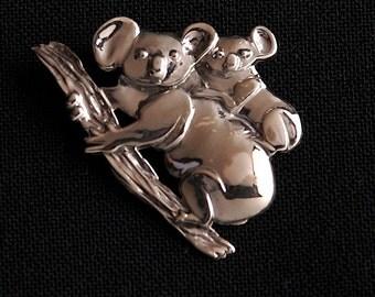 Koala Brooch - Sterling Silver 35mm