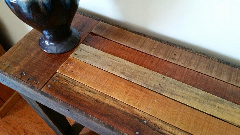 Palette bois table de console canap rustique par for Table console en bois