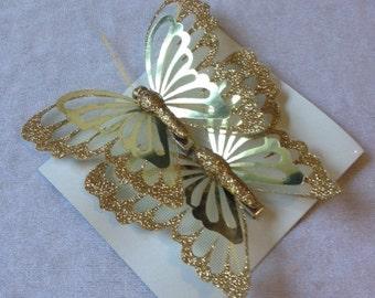 Butterfly 2 Butterflies Gold 4 Inches Butterfly Embellishments Artificial Butterflies Scrapbooking
