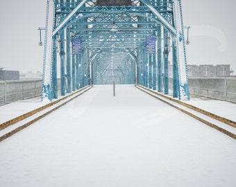 Snow on the Walnut St Bridge, Chattanooga