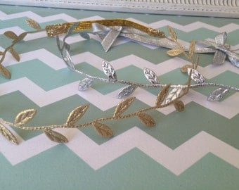 Gold leaf headband, silver leaf headband
