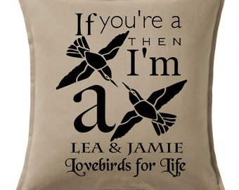 Custom Personalised LOVEBIRDS Wedding Engagement Anniversary Cushion Pillow Keepsake Heirloom Personalized