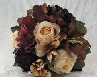 Silk Brown and Late earth tone wedding bouquet  nosegay style 4 pc Made of roses, lilies and peonies