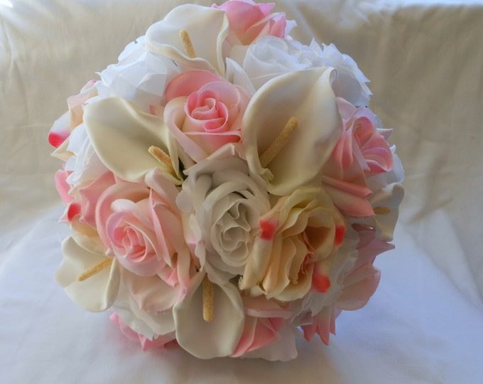 Silk Bride wedding bouquet pink and white round nosegay style 2 pc Roses and Calla
