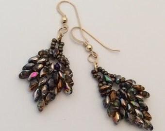 Iridescent super duo earrings.
