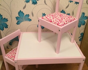 Childrens solid wood table with 2 padded chairs, personalised with your  childs name and colours & fabric of your choice.