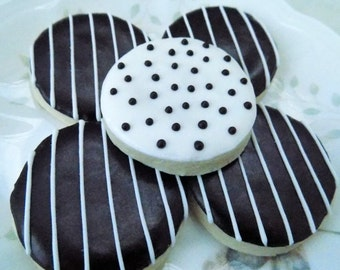 Classic Mini Sugar Cookies with Stripes and Polka Dots