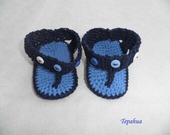 baby Flip flops made in  blue cotton
