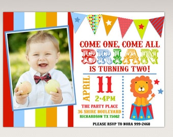 Carnival Circus Birthday Party printable Photo Invitation #348