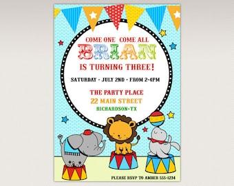 Carnival Circus Birthday Party printable invitation