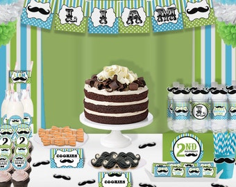 Little Man Mustache Bash Baby Shower Printable Party Decorations Supplies - Standard Set Party Kit PK-22
