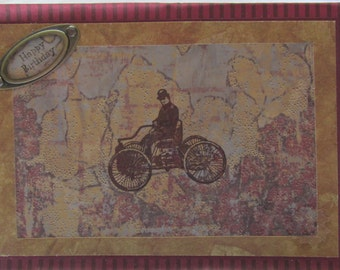 Vintage Birthday Card, Antique ride, Birthday Wishes,