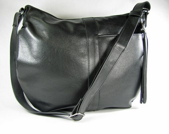 hobo bag,leather hobo bag,black leather hobo,black handbag,black bag,black handbag