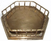 Hexagon Faux Bamboo Brass Tray Mid Century Hollywood Regency