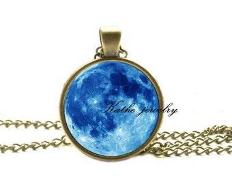 Full Moon Necklace, Space Art Pendant, Bronze Moon Jewelry