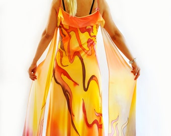Hand painted Long Chiffon dress/Painting chiffon/Evening dress/Prom dress/Bridesmaid chiffon Maxi dress/Long dress/Orange party  dress/D1420