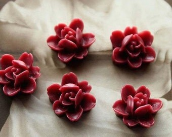 Resin Flowers Cabochons 11mm Colorful  Resin Lotus Flowers Beads Cameo Flat Back r3b(5pcs)