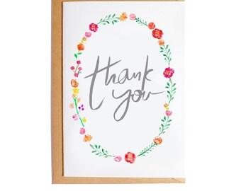 Thank You - A6 Blank Card - Watercolour