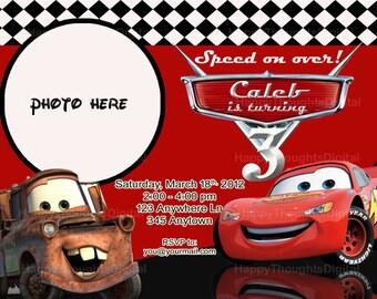Pixar Cars Lightning McQueen Invitation Digital -DIY- (print it yourself)