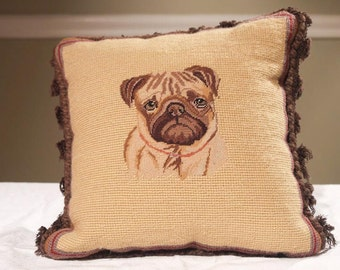 Charming Needlepoint Pug Pillow