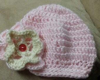 Crochet Baby Beanie with Brim