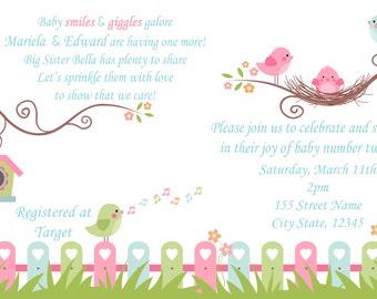 Tweet Baby Girl / Baby Shower Invitation / Tweet baby bird shower invitation / Baby Number 2