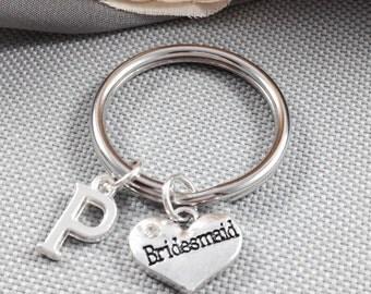 Bridesmaid keychain, initial keychain, gift for bridesmaid