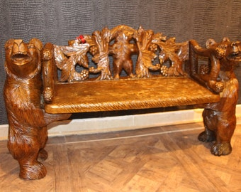 Black Forest Carved Wood Bears Bench