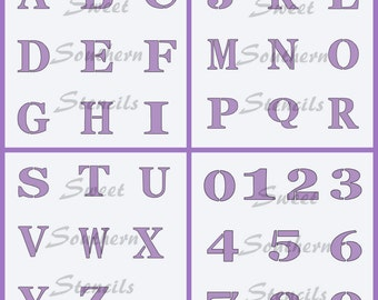 Block Alphabet and Numbers  (4 separate stencils)