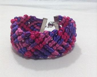 Pink and purple macrame (sp) bracelet