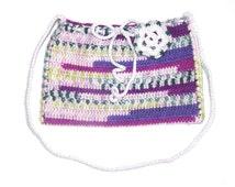 Girls, woman crochet little handbag, bag, purse. Multicolor - white, green, purple. With white shoulder belt. Great gift. With flower.