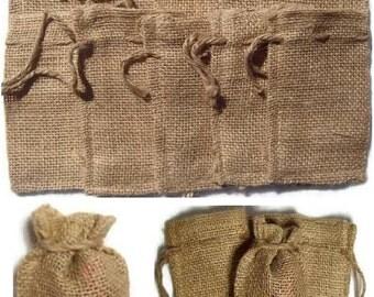 "25 BURLAP BAGS 2"" X 3"" - 5cm X 7.5cm Gift Bags Favor Bags Wedding Bridal Decor"